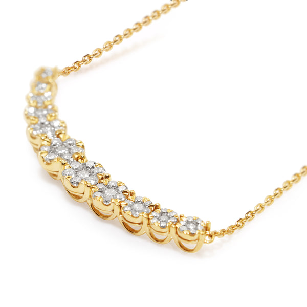 14ct Yellow Gold Diamond Clusters Necklace
