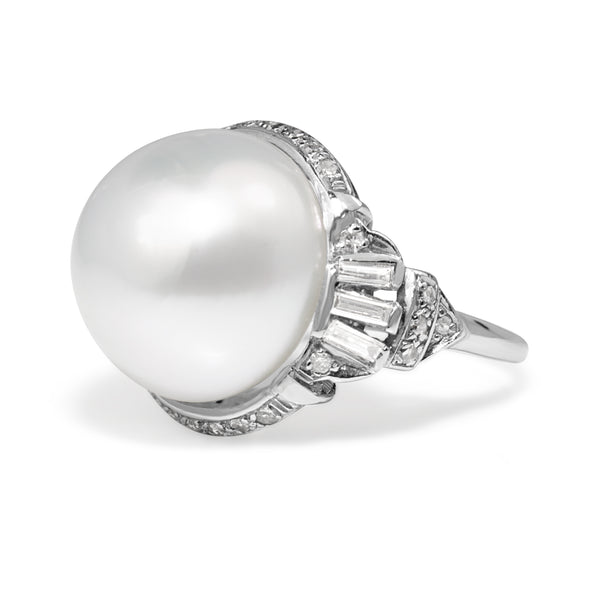 Platinum Vintage South Sea 14mm Pearl and Diamond Ring