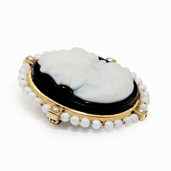 14ct Yellow Gold Antique Cameo and Pearl Brooch / Enhancer