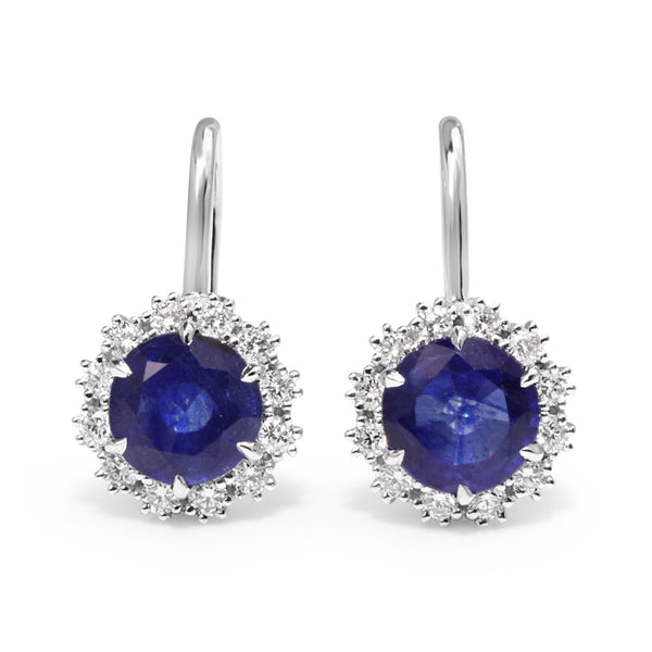 18ct White Gold Treated Sapphire and Diamond Halo Drop Earrings