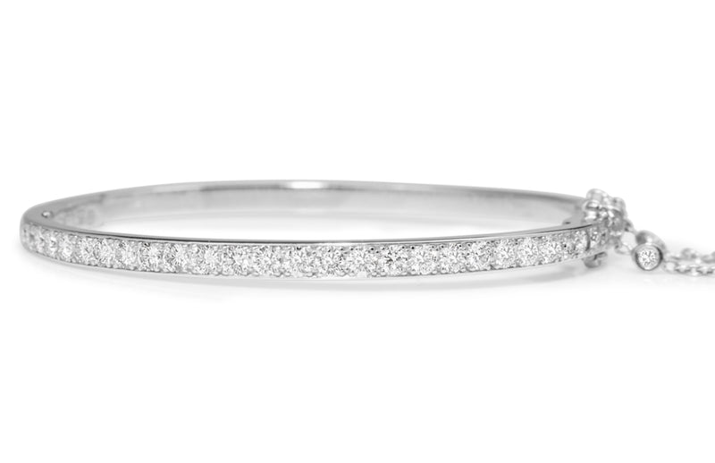 Platinum Hinged 3.20ct Diamond Bangle