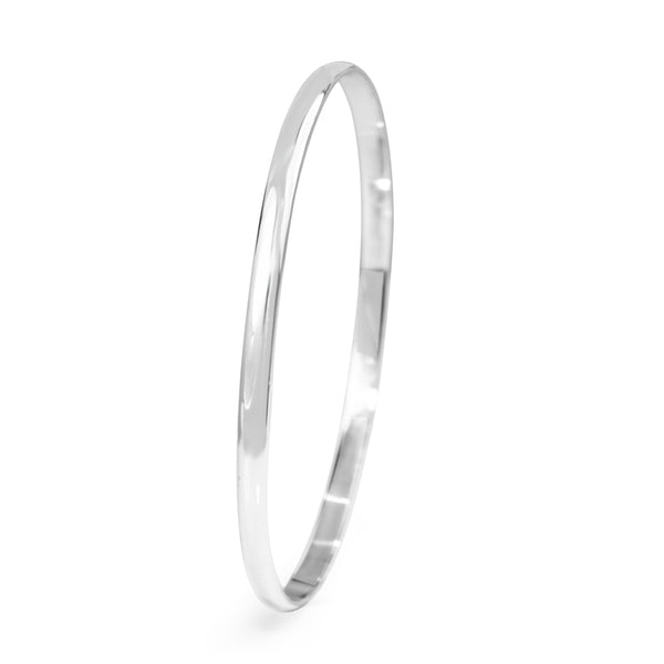 18ct White Gold Solid Round Bangle