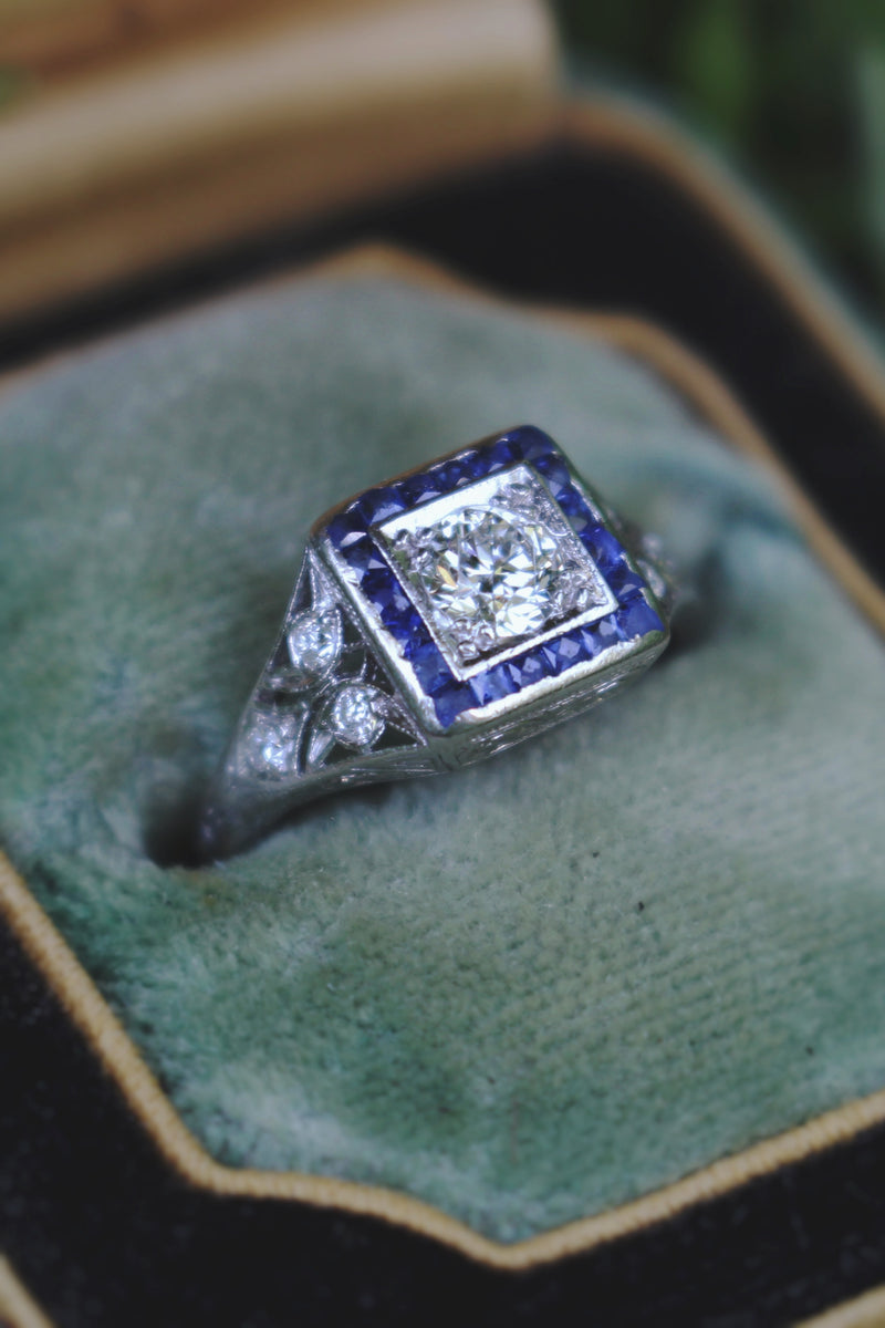 Platinum Art Deco Old Cut Diamond and Sapphire Ring