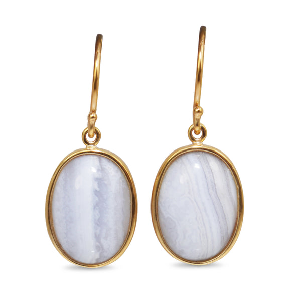 9ct Yellow Gold Agate Earrings