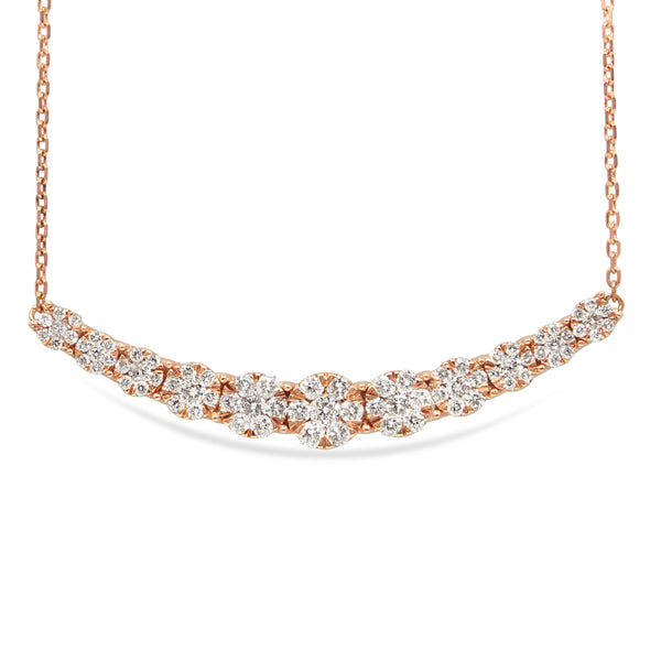 14ct Rose Gold Diamond Cluster Necklace
