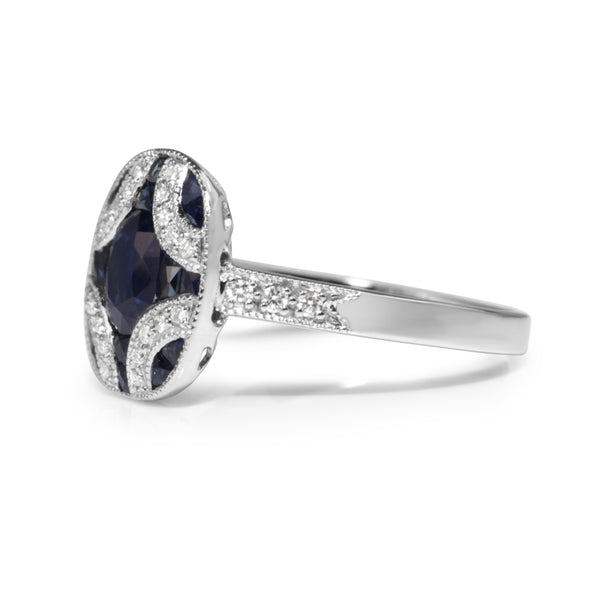9ct White Gold Art Deco Style Sapphire and Diamond Ring