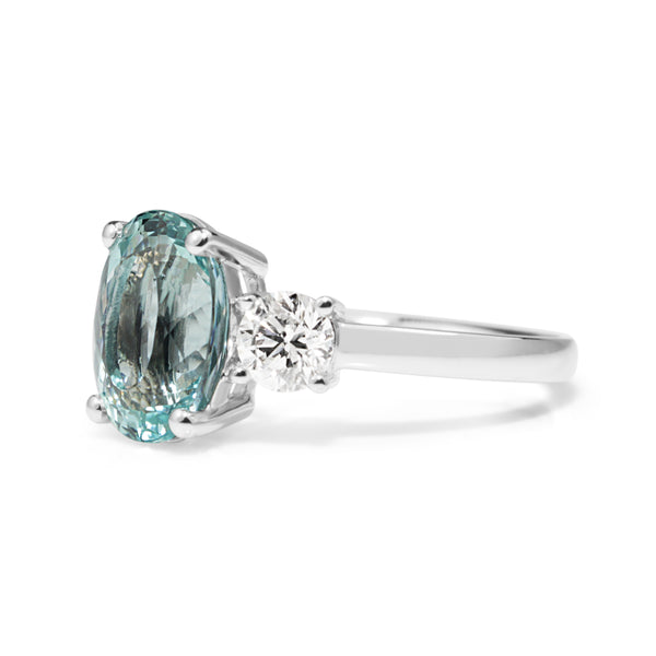 18ct White Gold Aquamarine and Diamond 3 Stone Ring