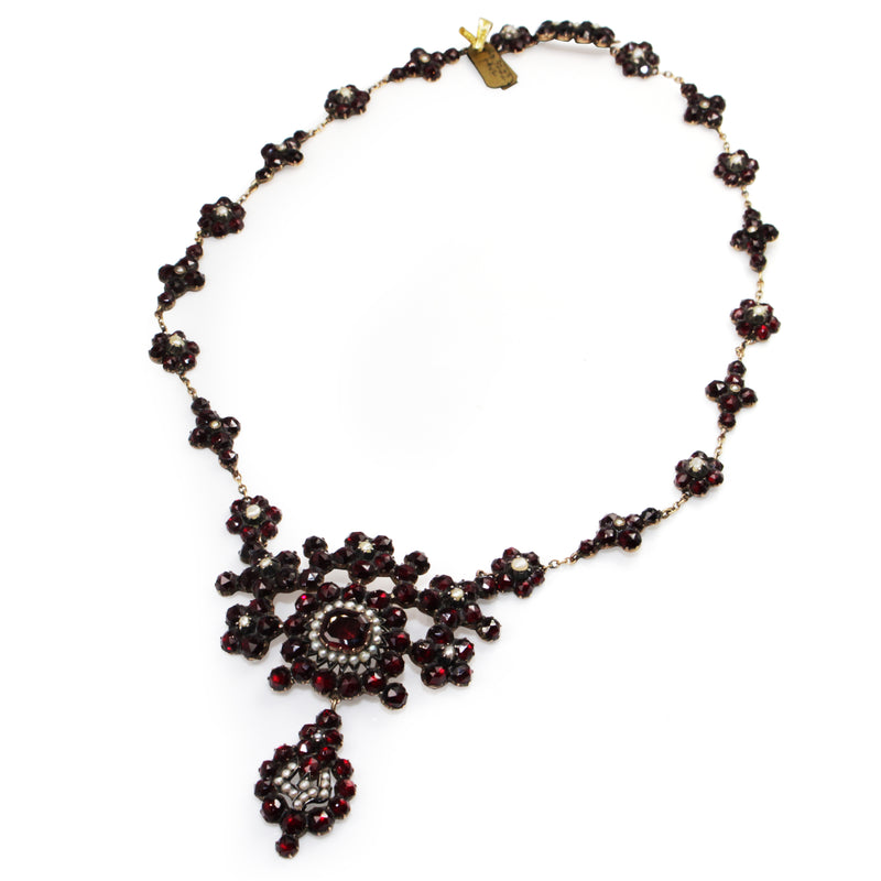 Garnet Gold Antique Garnet and Pearl Necklace