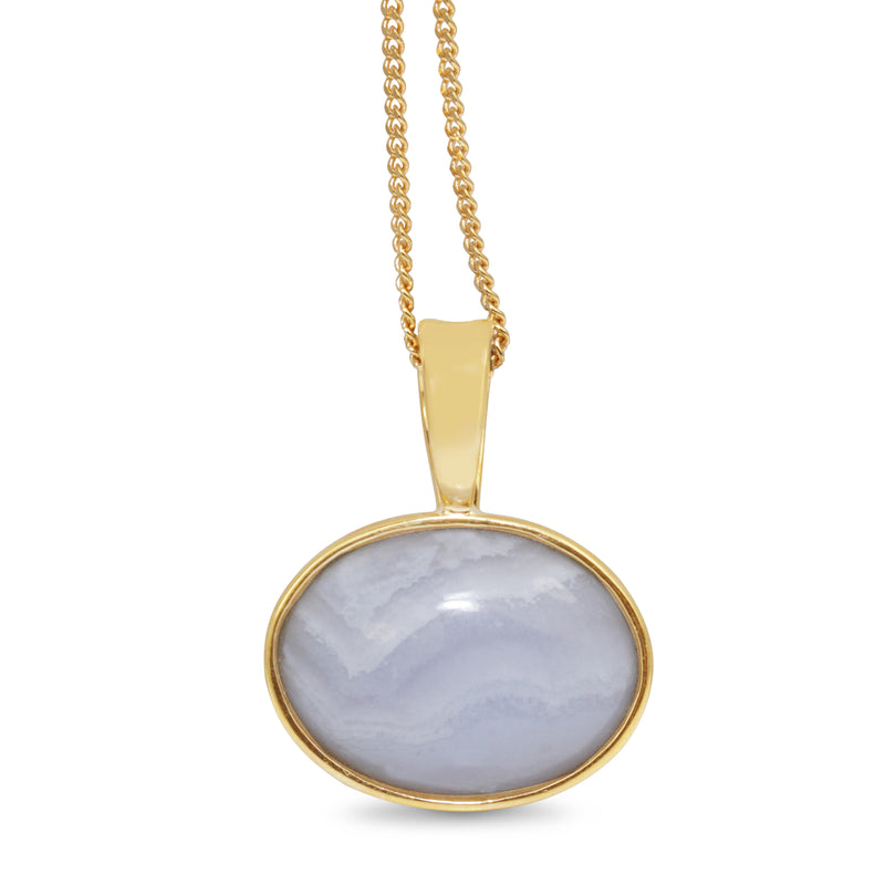 9ct Yellow Gold Agate Pendant / Enhancer