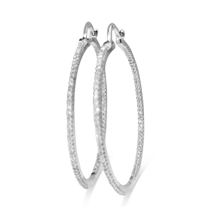 14ct White Gold Diamond Hoop Earrings