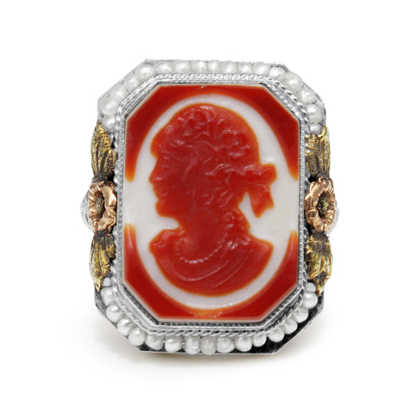 14ct White, Rose and Yellow Gold Art Deco Pearl and Agate Cameo Ring