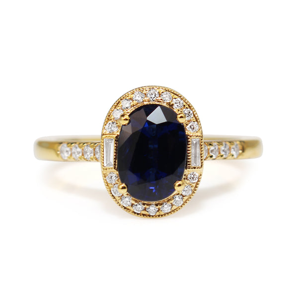 18ct Yellow Gold Sapphire and Diamond Halo Ring
