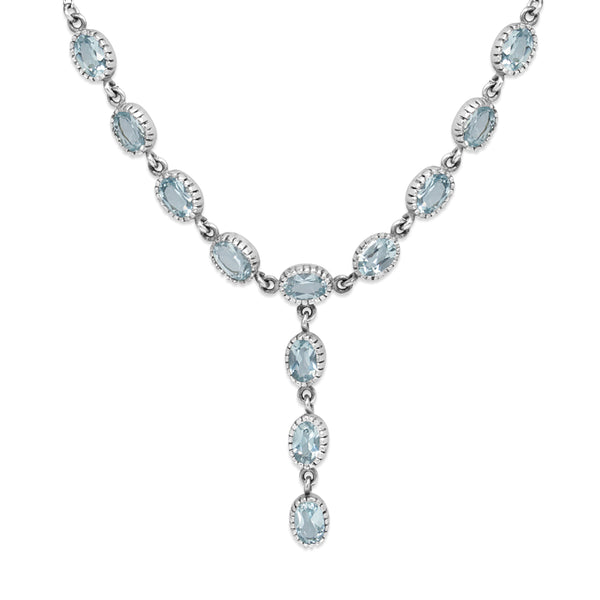 9ct White Gold Topaz Lariat Drop Necklace