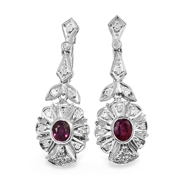 Palladium Ruby and Diamond Late Deco Earrings