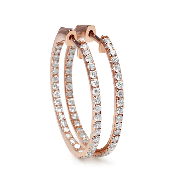 14ct Rose Gold Diamond Hoop Earrings