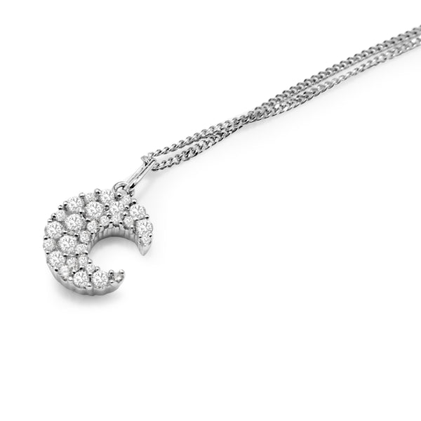 18ct White Gold Diamond Crescent Moon Pendant