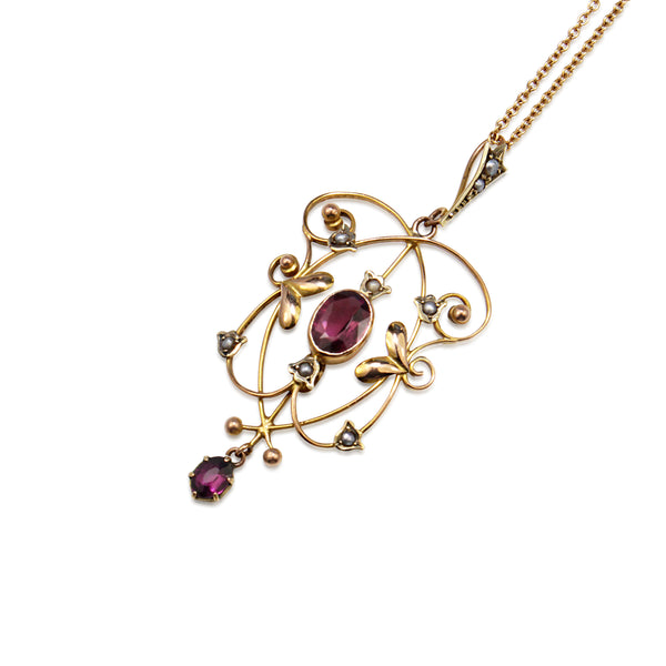 9ct Yellow Gold Antique Garnet and Pearl Pendant
