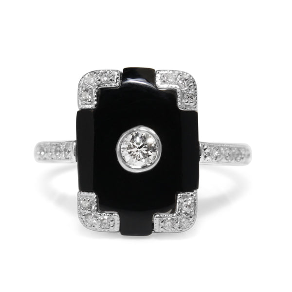 9ct White Gold Art Deco Style Onyx and Diamond Ring