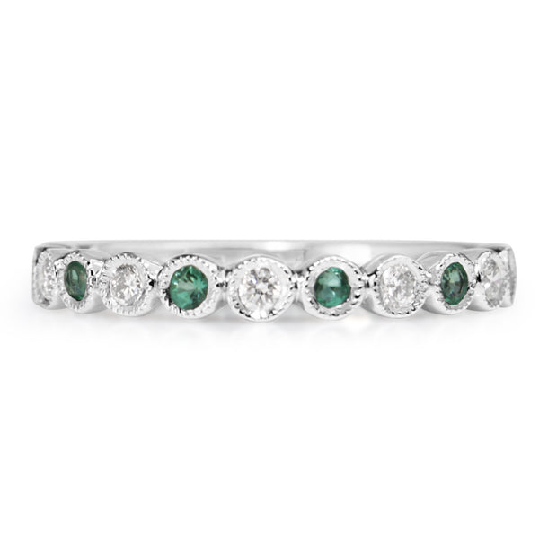 9ct White Gold Emerald and Diamond Band
