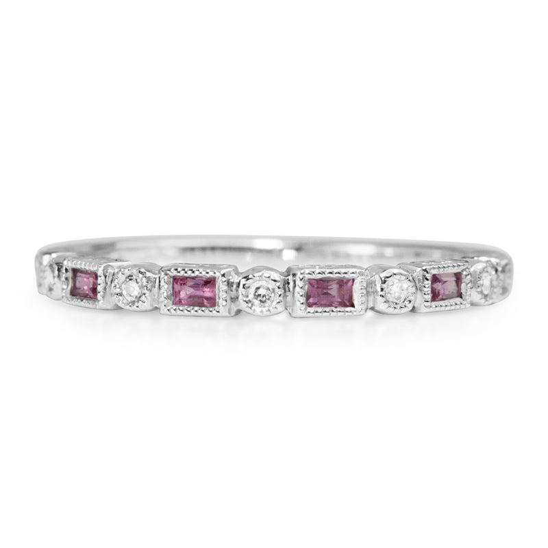 18ct White Gold Pink Sapphire and Diamond Deco Style Band