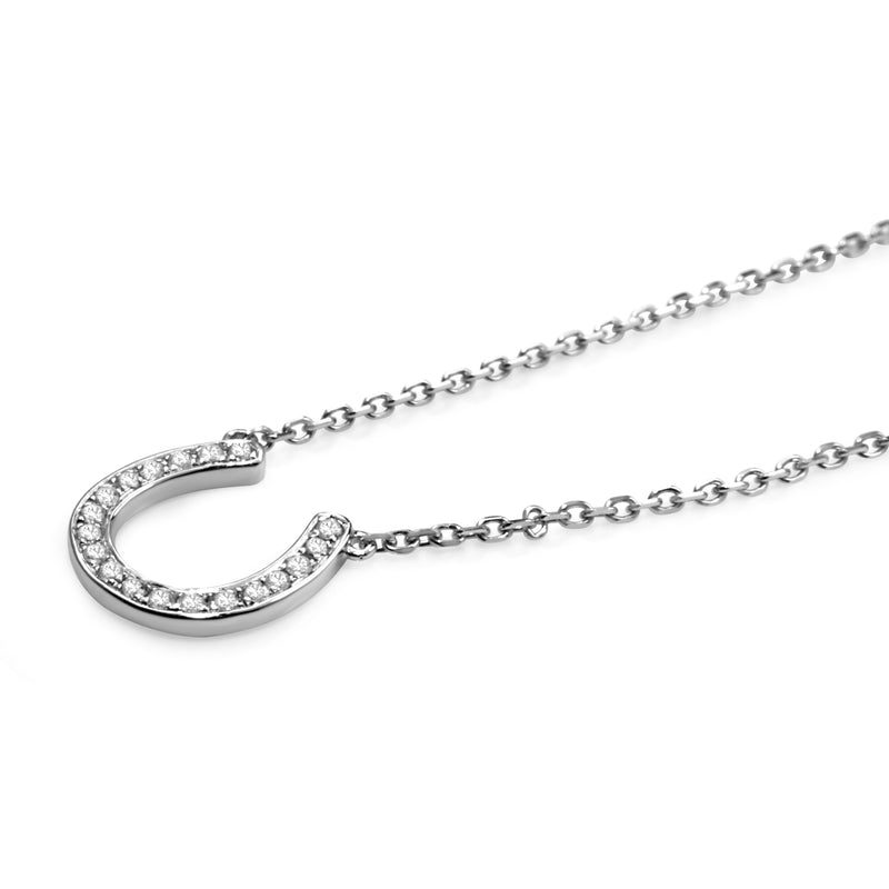 18ct White Gold Diamond Horse Shoe 'Lucky' Necklace