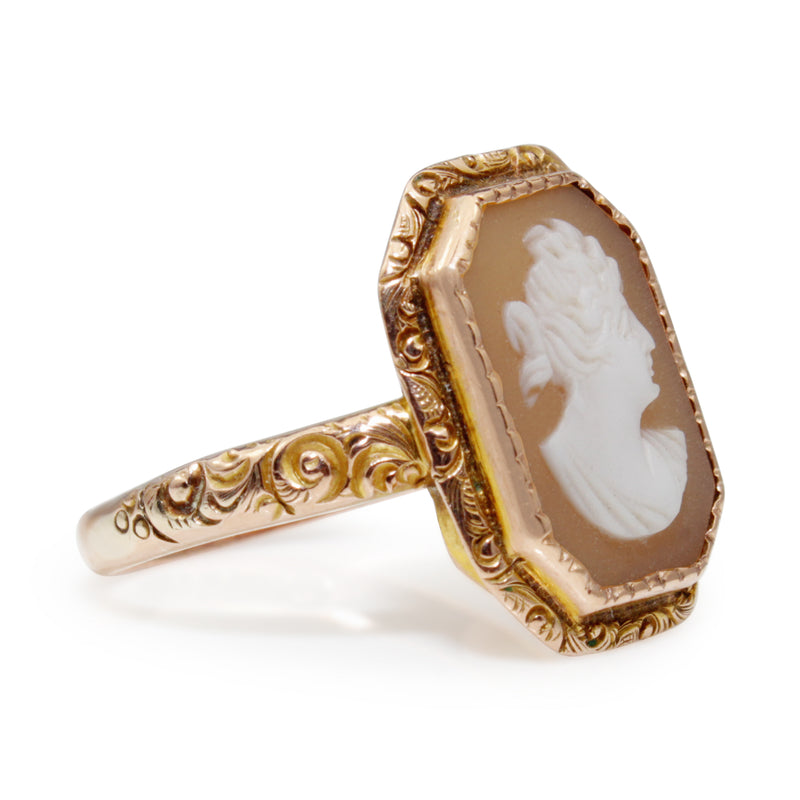 9ct Rose Gold Antique Etched Cameo Ring Circa 1916