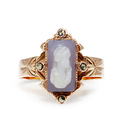 9ct Rose Gold Antique Cameo and Marcasite Ring