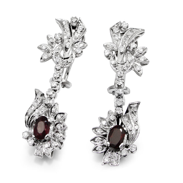 Palladium Vintage Garnet and Diamond Earrings