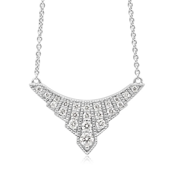 9ct White Gold Diamond Art Deco Style Necklace