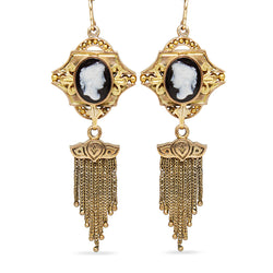 15ct Yellow Gold Antique Cameo Tassel Drop Earrings