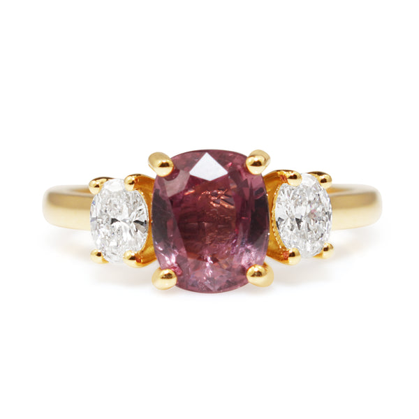 18ct Yellow Gold Pink Sapphire and Diamond 3 Stone Ring