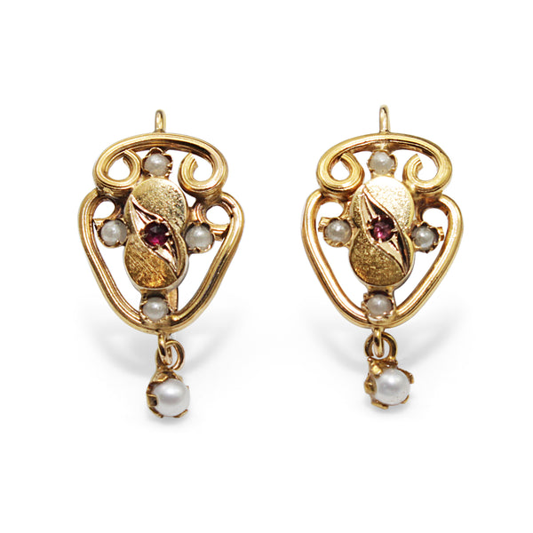 15ct Yellow Gold Antique Pearl and Paste Earrings
