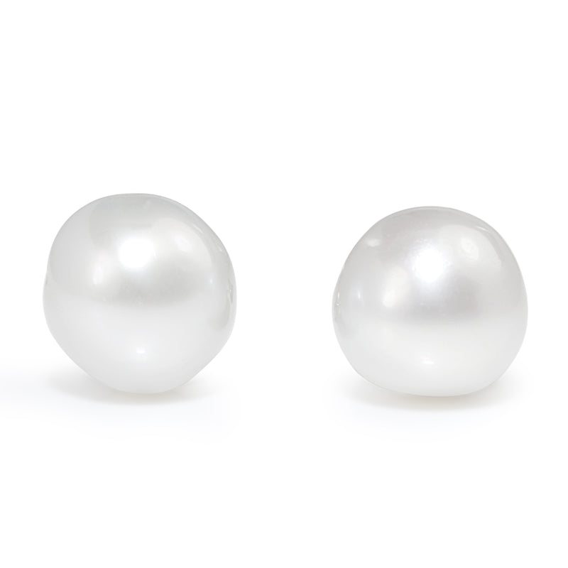 9ct White Gold Baroque South Sea 12mm Pearl Studs