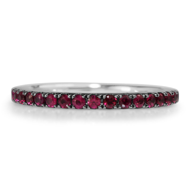 18ct White Gold Ruby Band