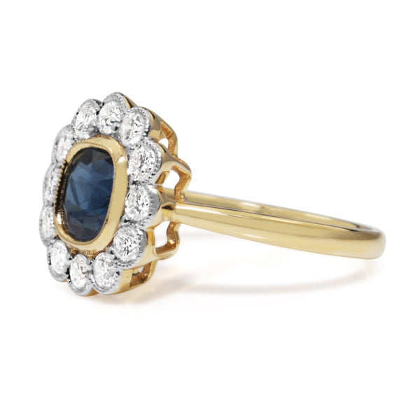 18ct Yellow and White Gold Sapphire and Diamond Daisy Ring