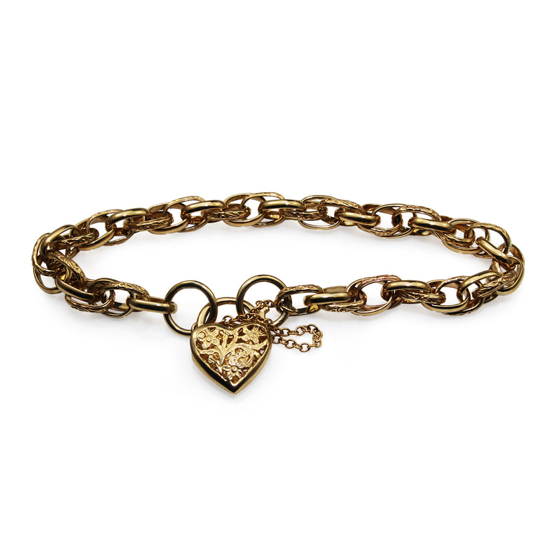 9ct Yellow Gold Fancy Link Etched Bracelet with Padlock