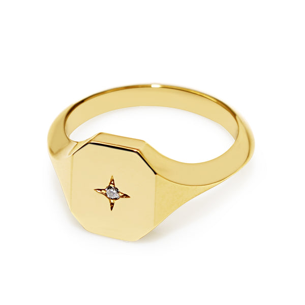 9ct Yellow Gold Diamond Signet Ring