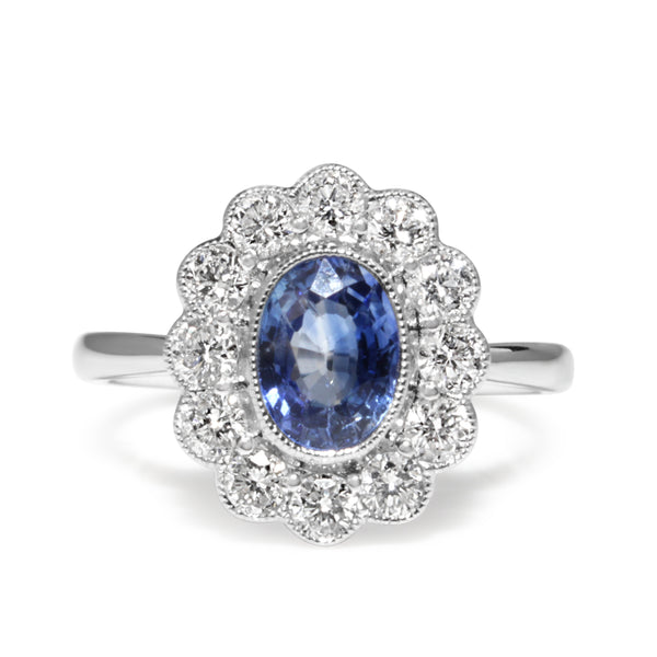 18ct White Gold Sapphire and Diamond Daisy Ring