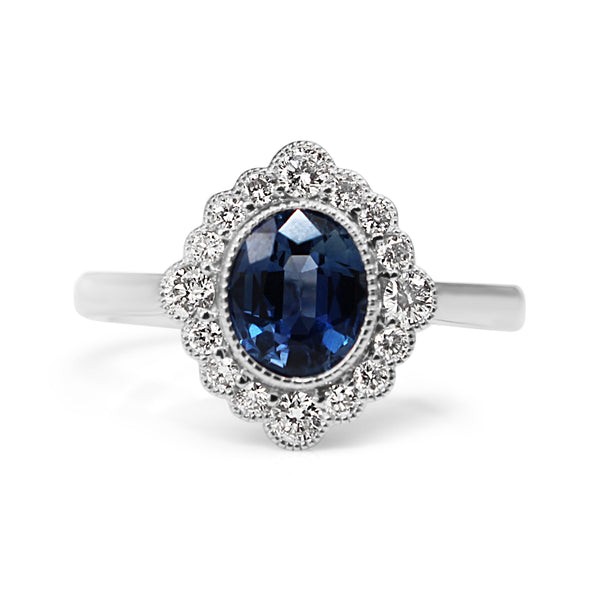 18ct White Gold Sapphire and Diamond Daisy Style Ring