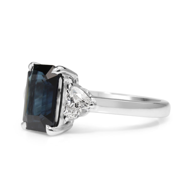 18ct White Gold Emerald Cut Sapphire and Diamond Heart 3 Stone Ring