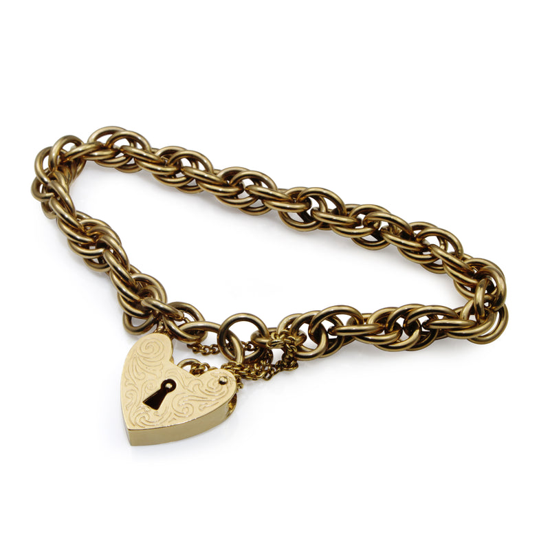 9ct Yellow Gold Fancy Link Bracelet with Padlock Clasp