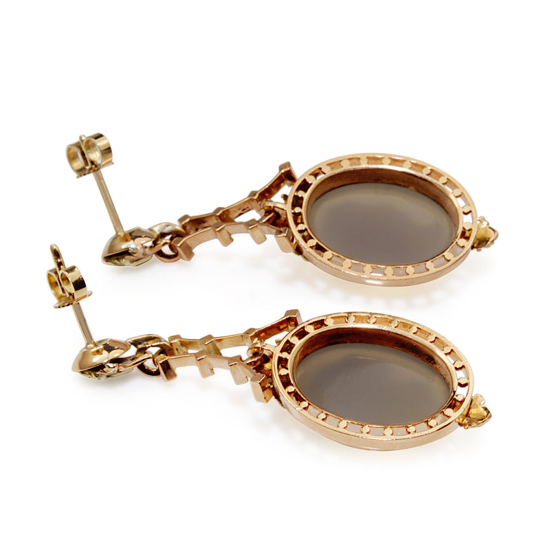 14ct Yellow and Rose Gold Antique Cameo Drop Earrings