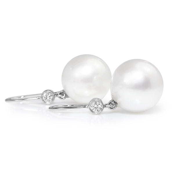 18ct White Gold South Sea 14mm Pearl and Diamond Earrings