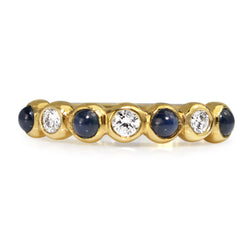 18ct Yellow Gold Cabochon Sapphire and Diamond Band