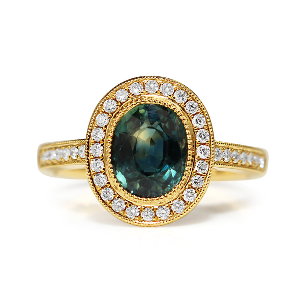 18ct Yellow Gold Teal Sapphire Diamond Halo Ring