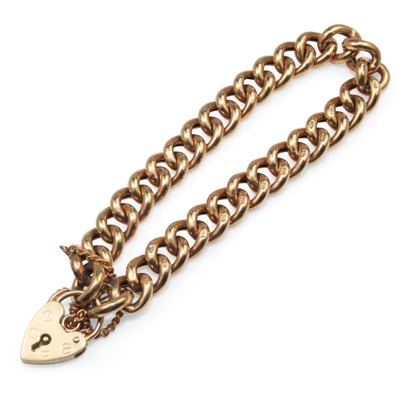 9ct Yellow Gold Curb Link Bracelet with Padlock Clasp