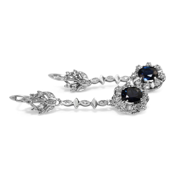 Palladium Sapphire and Diamond Vintage Earrings