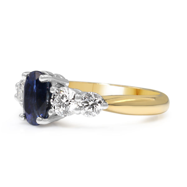 18ct Yellow and White Gold Sapphire and Diamond 5 Stone Ring
