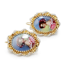 14ct Yellow Gold Pearl Hand Painted Earrings