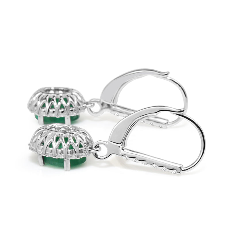 18ct White Gold Emerald and Diamond Drop Earrings